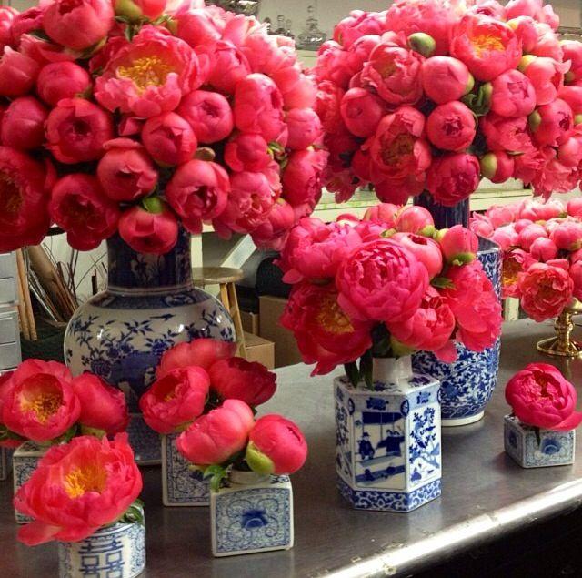 Arange flowers in Blue & White Vases