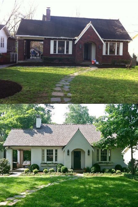 Before and After Painting a Brick House - Read the blog for the other 7 amazing before and after pictures of stunning makeovers
