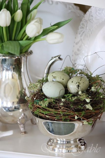 Egg Nest and Silver Bowl