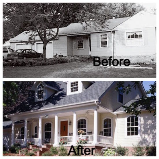 Curb appeal 8 stunning before after home updates for Home expansion ideas