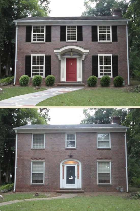 Colonial Remodeling Set before after home exterior designs