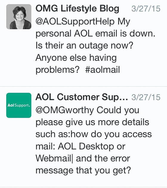 Tweeting to AOL Customer Support