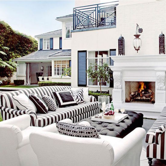 Black and White Outdoor Sitting Area with Fireplace