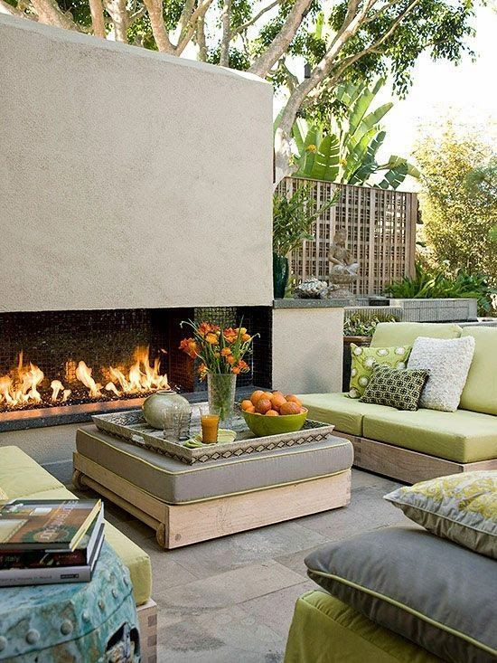 A fireplace is an invitation to sit down and relax. These gorgeous outdoor fireplaces will make you wish for cool evenings to enjoy the ambiance and stars.