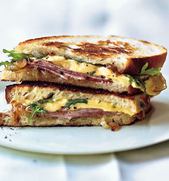 Leftover Ham Recipe - Grilled Ham and Gouda Sandwiches with Frisee and Caramelized Onions