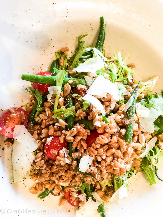 Grilled Asparagus, Farro and Frissee Salad