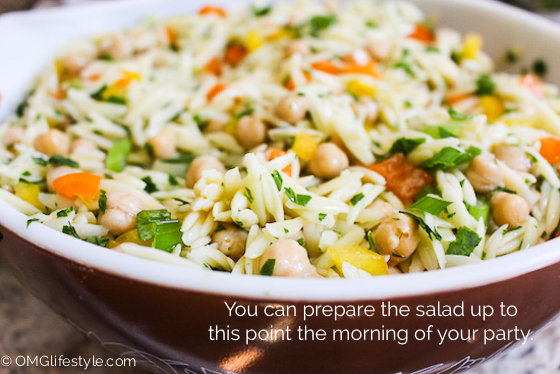 Prepare the Orzo Salad up to this point if preparing in advance.
