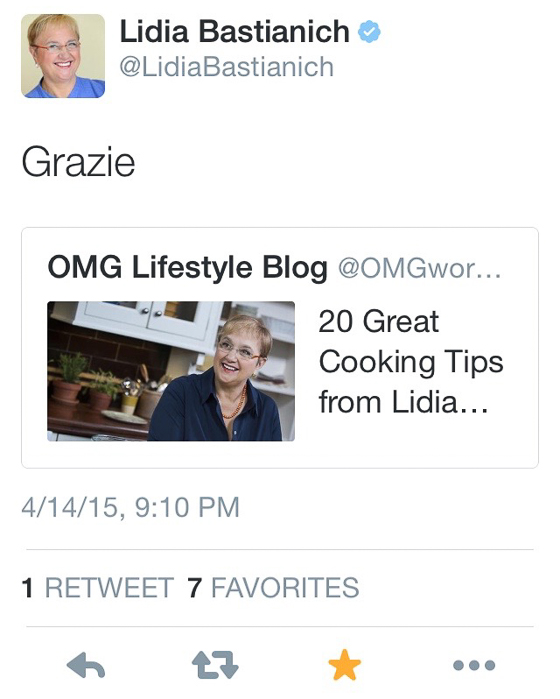 Lidia Bastianich Tweet