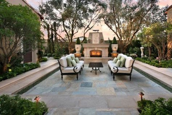 Outdoor Fireplace with Slate Patio