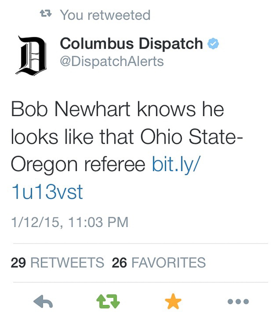 Tweet regarding Bob Newhart