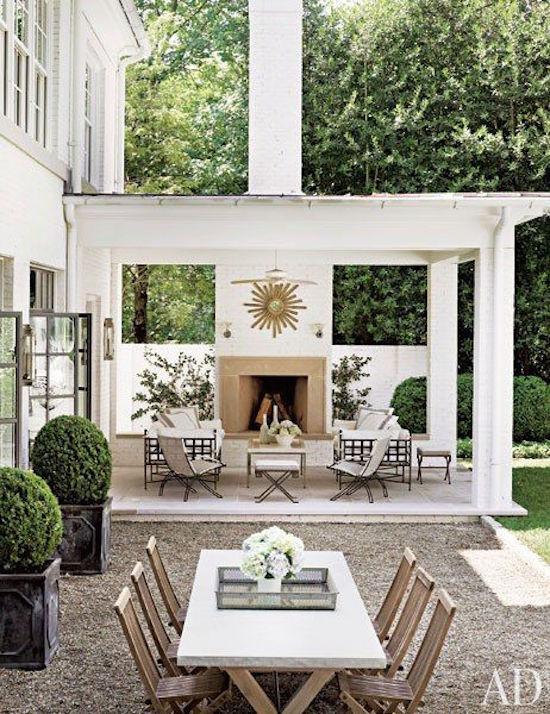 Outdoor Fireplace under Pergola