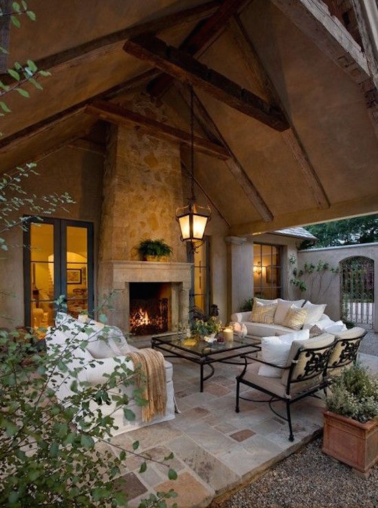 Sheltered Outdoor Living Area with Fireplace