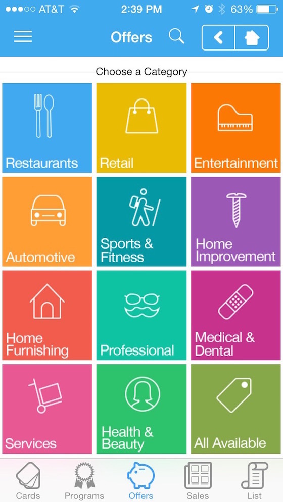 Categories of Offers on Key Ring App
