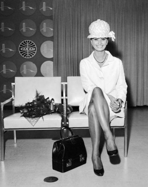 1961: Sophia Loren in the Pan Am press room at Idelwild International Airport. (JFK)