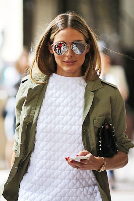 Army Green Jacket with White