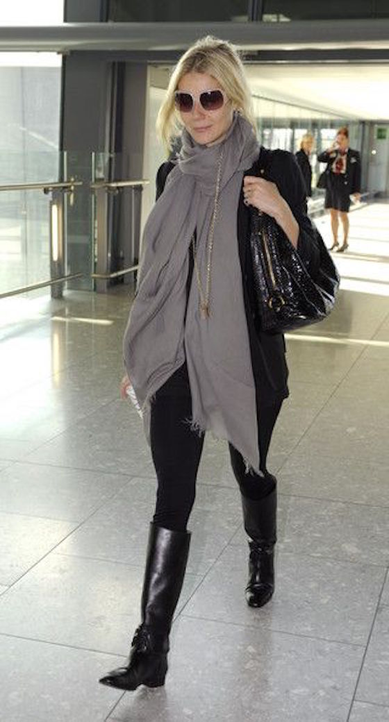 Gwyneth Paltrow Actress Gwyneth Paltrow flies out of Heathrow Airport to New York.