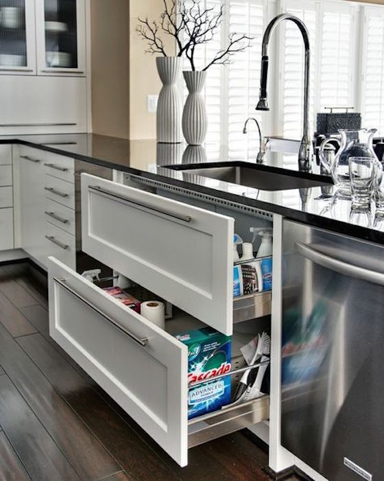 Sink Drawers are so clever! Read the post for other great storage ideas.