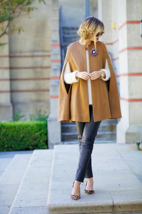 Fashionable Fall Cape with a gorgeous brooch accessory