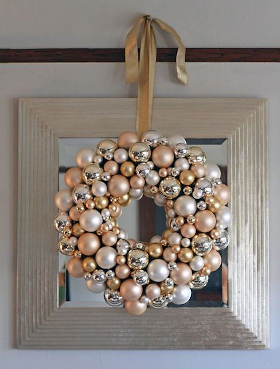 wreaths are not just for front doors i love this christmas ornament wreath hung over - Elegant Christmas Wreaths