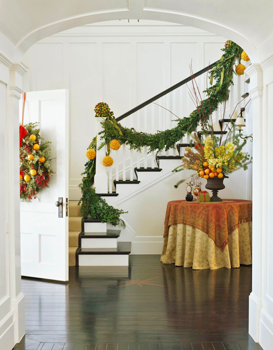 Festive Holiday Foyer with Fruit Garland