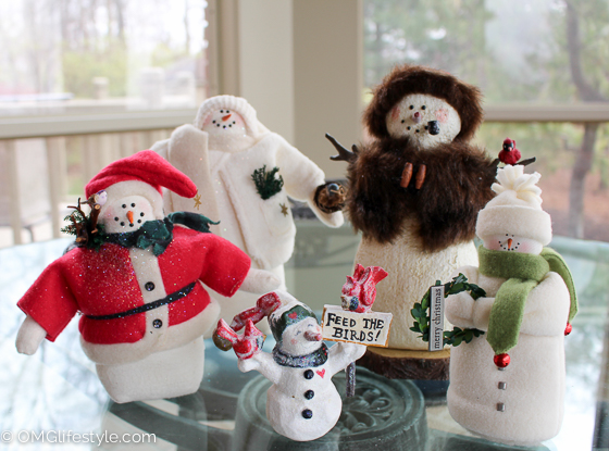 Merry and Bright Holiday Home Tour - OMG Lifestyle Blog - My collection of snowmen greet me daily as I walk past the sunroom where they live for the holidays.