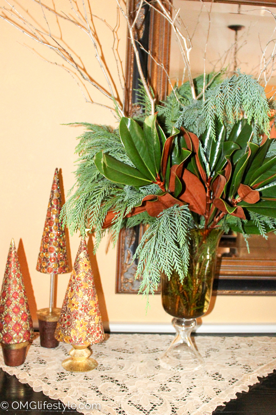 Merry and Bright Holiday Home Tour - OMG Lifestyle Blog - I love the copper hue of the magnolia leaves.