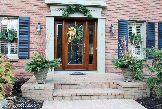 Merry & Bright Christmas Home Tour 2015 - OMG Lifestyle Blog - Front Porch Decor