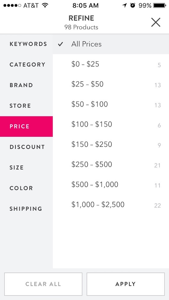 ShopStyle Search Filters