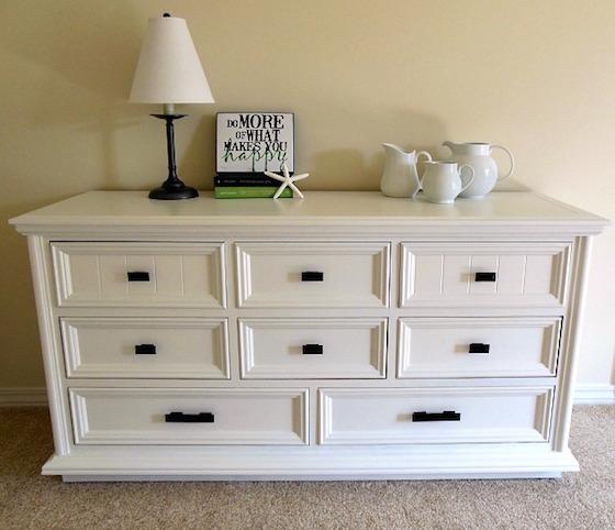 white dresser after bedroom furniture makeover