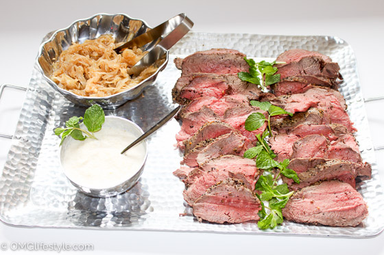 Beef Tenderloin with Caramelized Onions and Horseradish Sauce