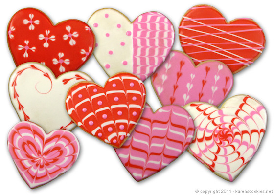Frosted Heart Cookies for Valentine's Day - Love the designs!  Great tutorial on how to create these at home.