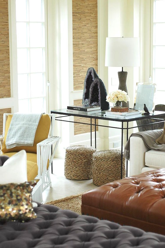 Great room designed by Nate Berkus filled with textures and rich colors