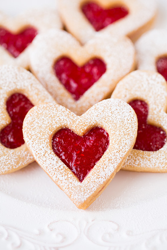 Heart Shaped Linzer Cookies for Valentine's Day