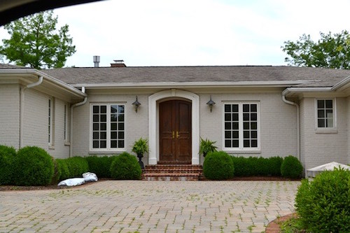 Painted brick homes add charm curb appeal omg for Light gray exterior paint