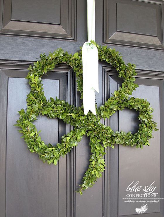 Greet  your guests at the door with this Shamrock Wreath for St. Patrick's Day