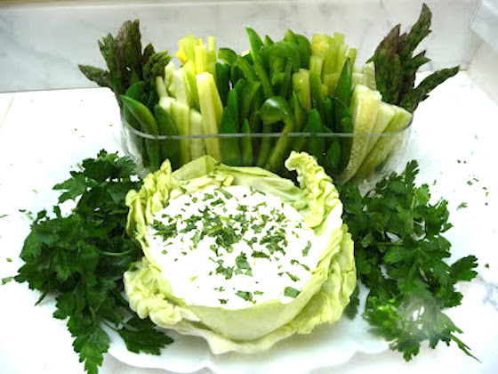 Green Crudite and Green Goddess Dip in a Cabbage
