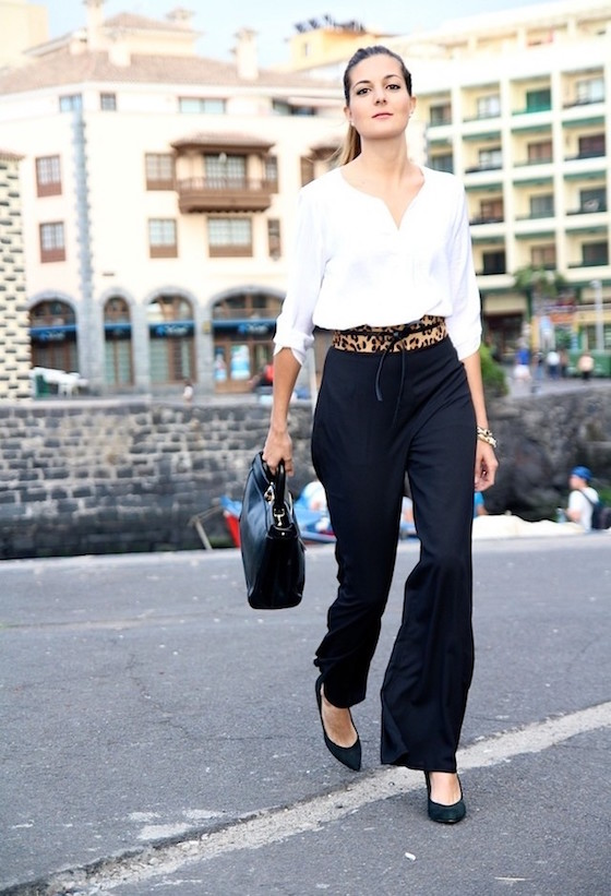 Black and White with Leopard Belt