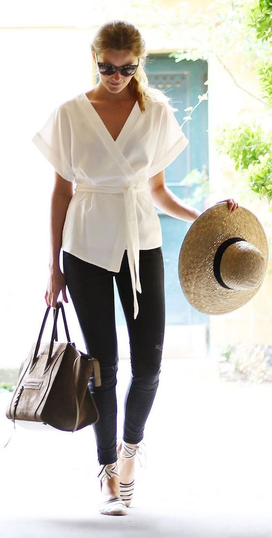 White Wrap Blouse with Black Pants