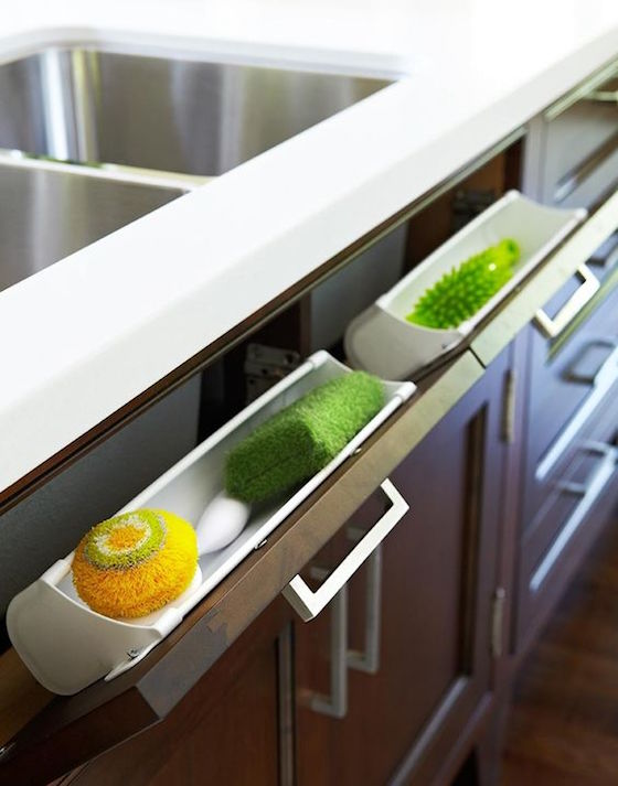 Remodeling ideas for your home: Pop out drawer for dish sponges