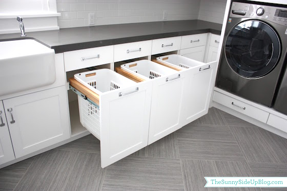 Remodeling your laundry room? Consider adding these built in laundry basket for dirty clothes