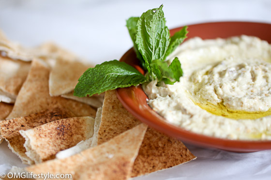 Baba Ghannuj (aka Baba Ghanoush) is one of my favorite Lebanese dips. The smoky eggplant, nutty tahini and tart lemon juice makes the perfect combo. It is delicious served with pita bread.
