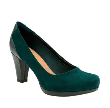 Clarks Green Suede Pump
