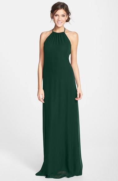 Green Halter Gown