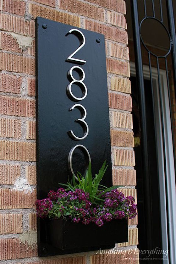 Address Plaque with Planter