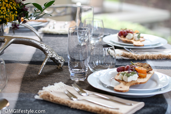 Fall tablescape with individual cheese boards