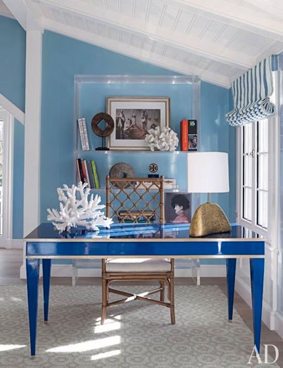 Blue Painted Desk with Painted trim