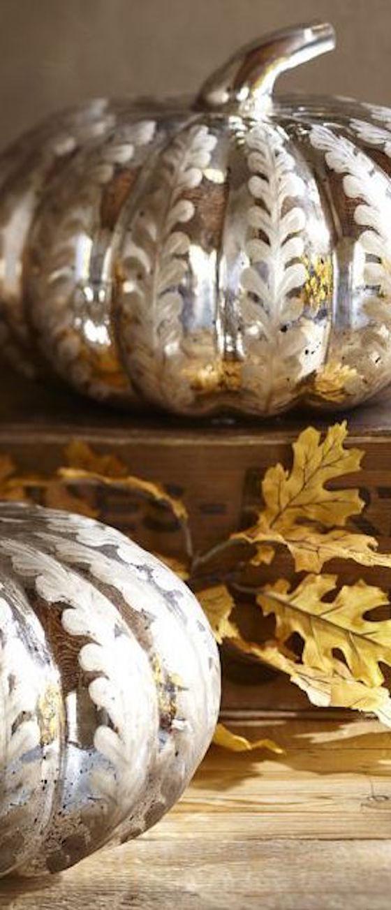 Mercury Glass Pumpkins with Stenciled Leaf Design