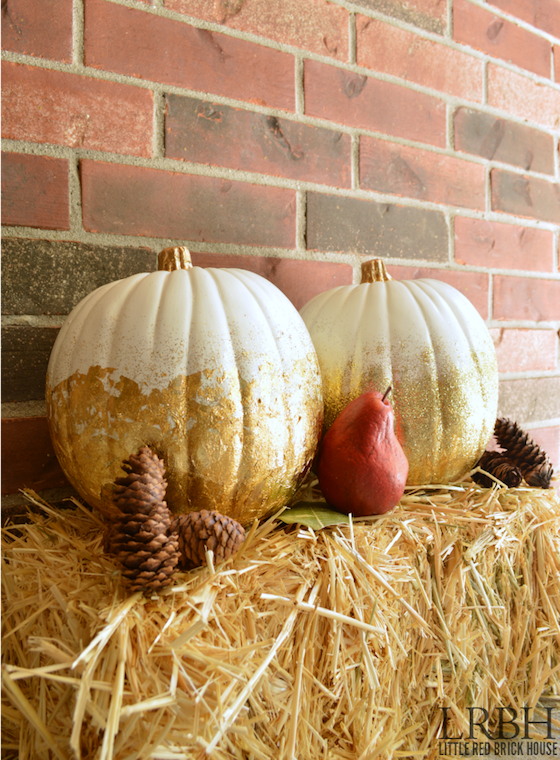 Gold leaf and glitter pumpkins from Little Red Brick House
