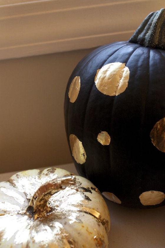 Black and Gold Gilded Pumpkins
