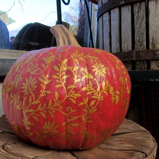 Gold stenciled pumpkin